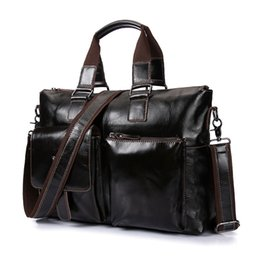 Wholesale Man S Leather Briefcase - Genuine leather business briefcase handbag Men 's shoulder bags Laptop bag Luxury soft skin handbags high quality men travel bag