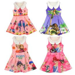 Wholesale Slips Movies - 2017 Girls Dresses Movie Trolls Moana Lapel Princess Dresses Frozen Elsa Anna Sleeveless Princess Slip Childrens Clothing For 3-8T