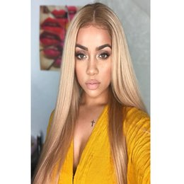 Wholesale Remy Human Hair Wigs Blonde - #27 Full Lace Human Hair Wig Brazilian Remy Silky Straight Hair 130% Density Pure Blonde Wig 100% Hand Tied