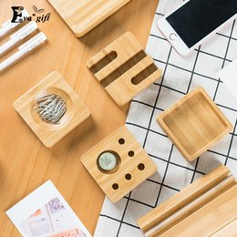 Wholesale Wood Desk Organizers - Desktop wooden storage box for office Stationery organizer solid wood Pen box card holder office desk storage Finishing boxes q171126