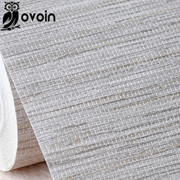 Wholesale Wallpaper Roll Grey - Modern Rustic Embossed Textured Wallpaper Horizontal Faux Grasscloth Vinyl Wall Paper Classic Vintage WallCovering, Grey,Beige
