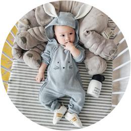 Wholesale Rabbit Onesies - toddler rompers 2017 New Cartoon Bunny Ear Baby Boys Bodysuit Autumn Rabbit Long Sleeve Infant Jumpsuit Newborn Onesies C1550