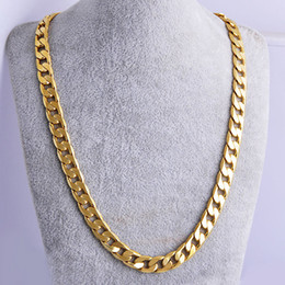 Wholesale Solid Flat Gold Chains - High quality 18K YELLOW Solid GOLD GF FLAT RIM CURB CHAIN WOMEN MEN SOLID CHARM 23.6INCH NECKLACE 10MM