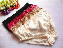 Wholesale Pair Underwear - Wholesale-1 Pairs Women's 100% Silk Panties Briefs Underwear Bikinis Size M L XL XXL
