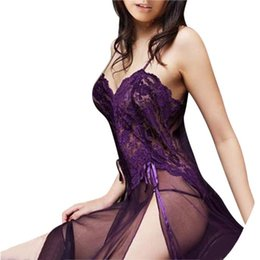 Wholesale Ladies Sleepwear Plus Sizes - Wholesale- 2017 Plus Size Sexy Lingerie Set Ladies Sexy Perspective Lace Sleepwear Women Nightwear Underwear Dress G-String Temptation 6XL