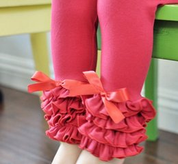 Wholesale Kids Ruffle Leggings - Wholesale Baby Girls Cotton Ruffles Leggings Pants tight Toddlers Children Baby Kids Ruffle Leggings With Ruffled kids trousers 17-7