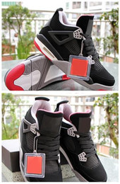 Wholesale New Style Basketball Shoes - NEW 2017 Air Retro 4 Bred Men Basketball Shoes Black Red White With Best Top Quality Discount Real Leather New Style