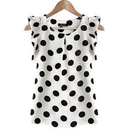 Wholesale Dotted Ladies Chiffon Tops - Summer Women Ladies Chiffon Puffed Short Sleeve Shirt Dot Print Top Blouse High Quality