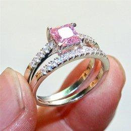 Wholesale Pink Cz Stone - Fashion 10KT White Gold Filled Pink and White Square Diamond CZ gemstone Rings sets Wedding Bride Band Jewelry sert for Women 2-in-1