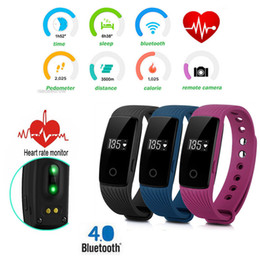 Wholesale Smartphone Heart Monitor - Hot Fitbit ID107 Bluetooth Heart Rate Monitor Smart Band Watch Bracelet Bangle Fitness Tracker Sports Wristbands for Android iOS Smartphone