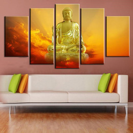 Wholesale Large Piece Artwork - Unframed Rulai Buddha Prints Painting 5 Pieces Wall Art Decor Large Painting on Canvas Modern Artwork