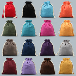 Wholesale Travel Pouch Necklace - Large Thick Velvet Towel lined Drawstring Pouch Travel Jewelry Necklace Bracelet Storage Bag Crafts Trinket Gift Packaging Bags 50pcs lot
