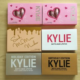 Wholesale Mini Lipsticks - in stock 20 sets Kylie Mini Kit HOLIDAY birthday valentine Edition 6Pcs KIT 5 styles MATTE LIQUID LIPSTICKS GLOSS lipsticks matte collection