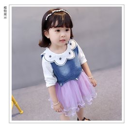 Wholesale Baby Girls Denim Vest - Baby girls princess outfits toddler kids cotton big lapel pleated mesh gauze tutu dress+pearls denim vest 2pcs sets infant clothes C0702
