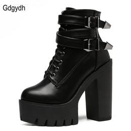 Wholesale Good Ladies Shoes - Wholesale-Fashion 2016 Brand Autumn Women Boots High Heels Platform Buckle Lace Up Leather Short Booties Black Ladies Shoes Good Quality