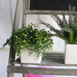 Wholesale Artificial Floor Plants - Wholesale-Green Melon Seeds Fern Fake Plant Artificial FLoral Leaves Foliage Vine Party Office Decor Decoration