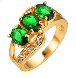 Wholesale Green Diamond Rings Yellow Gold - Oval Fashion Crystal White Zircon Green Green Ring Yellow Gold Filled CZ Diamond Jewelry Vintage Wedding Rings Gifts