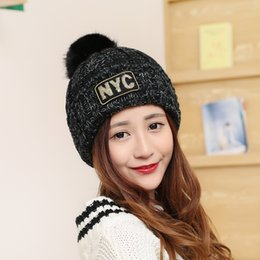 Wholesale Pink Skull Patch - Patch Letter NYC Thicken Women's Knit Hats Winter Knitted Hat Female Fur Pompom Women Knitted Hat Girls Caps Skullies Beanies A-282
