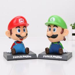 Wholesale Pvc Box Car - 2 Types 14cm PVC Super Mario Pop Alike With Box Bobble Head Car Ornament Cartoon Toy Action Figure Model Toys Kids Gift