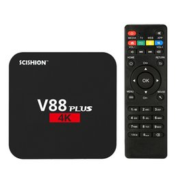 Wholesale Tv Wifi Plus 3d - SCISHION V88 Plus Android TV Box 4K 2G 8G Android 6.0 Quad Core Rockchip RK3229 WiFi Support VP9 H.265 3D DLNA Smart Tv Set Top Box