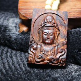 Wholesale Purple Amulet Necklace - Wooden lucky Amulet Talisman Buddha GuanYin Bodhisattva Genuine natural old purple oily pear Chinese HaiNan huanghuali necklace pendant