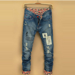 Wholesale Taper Pants Man - Wholesale-Ripped Casual Slim Denim Jeans Mens Tapered Jeans Japan Style Hip Hop Harem Pants Cotton Long Trousers Blue