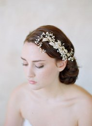 Wholesale Wedding Beads For Hair - Free Shipping Bridal Hair Accessories 2017 Handmade Gold Beads Girl's Party Headpieces Pearls Wedding Hair Bands Accessory for Bride