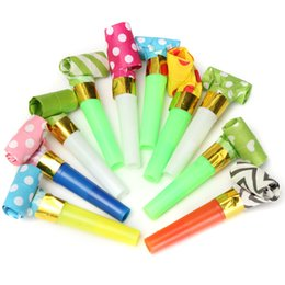 Wholesale Blow Whistle - Wholesale-Dots Whistle Blowing Dragon Funny Childrens Kids Birthday Party Supplies Blowout Baby Birthday Accessory 10Pcs