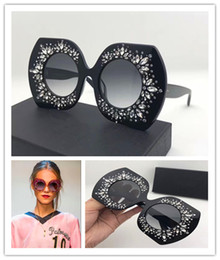 Wholesale Glass Inlays - Luxury brand sun 4315 large frame elegant special design inlaid colorful diamond frame built-in circular lens top quality fashion glasses