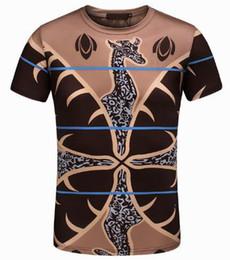 Wholesale Giraffe Sleeve - Giraffe Printed Cotton men tshirt men's tee tops man T-shirt casual mens t shirts Blue M-3XL