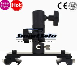 Wholesale Hotshoe Holder - Black Color Dual Cold Shoe Flash Bracket Hotshoe Mount for DV Camera LED Light Microphone(Flash stand holder is not include)