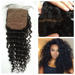 Wholesale Silk Top Lace Closure Indian - Silk Top Closure 4x4 With Baby Hair Brazilian Peruvian Deep Wave Swiss Lace Closure Medium Brown G-EASY