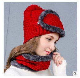Wholesale Neckerchiefs For Men - Girls Hats Women Mask Winter Thicker Knitted Neckerchief Warm Caps For Women Men Christmas Gifts Hats 3pcs Set DHL Free Shipping