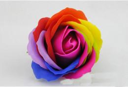 Imballaggio merci online-Display Rainbow 5 Saponi di rose colorate Fiori confezionati Articoli per matrimoni Articoli per feste Evento Bomboniera Accessori da bagno profumati con sapone