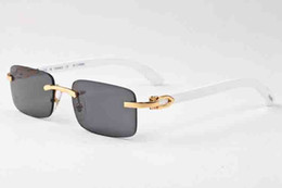 Wholesale Clear Shield Glass - new fashion men women sunglasses metal frame rimless wood natural buffalo horn glasses brown gray lenses gold silver oculos