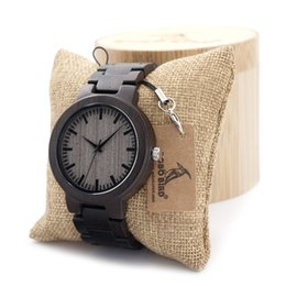 Wholesale Glass Top Wooden Box - Wholesale- BOBOBIRD C30 Ebony Wood Watches For Mens Watches Top Brand Luxury Quartz Watches With Gift Box