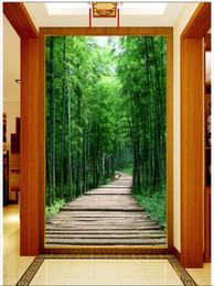Di alta qualità personalizzata 3d foto carta da parati murales carta da parati di bambù fresco legno plancia percorso 3D portico pittura tv sfondo muro soggiorno decor cheap bamboo planks da tavole di bambù fornitori