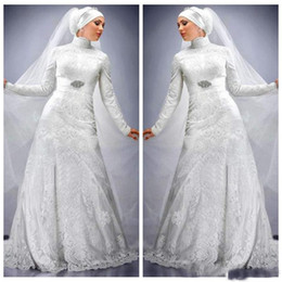 Wholesale Islamic Hijab Muslim Wedding Dresses - Modest Dubai Abaya Kaftan Islamic Long Sleeves Lace Wedding Dresses 2017 Hijab A Line High Neck Beads Sash Custom Bridal Gowns