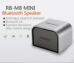 Wholesale Usb Boombox Player - REMAX RB-M8 Mini Aluminum Bluetooth Speaker V4.0 Portable Wireless Hand Free MIC Boombox Subwoofer USB AUX Better Charge Soundbar