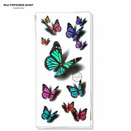 Wholesale art wall tatoo - Wholesale-Amazing Butterfly 3d Temporary Tattoo Body Art Flash Tattoo Stickers 19*9cm Waterproof Car Styling Tatoo Home Decor Wall Sticker