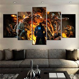 """Wholesale Room Painting Games - 60""""x32"""" Canvas Art Print, 5 panels Game Living Room Wall Art, Gears of War Canvas Print, Multi Panel Canvas, Extra Large Canvas (No Frame)"""