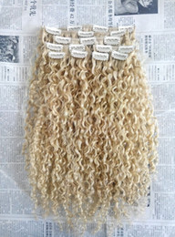 Wholesale hair extensions blonde curly - brazilian human virgin remy curly hair weft natural curl weaves unprocessed blonde 613# double drawn clip in extensions