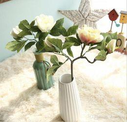 Wholesale Tea Rose Decoration - Camelia tea rose flower stem 4 colors artificial silk flowers 5 colors for wedding party centerpieces home holiday decoration 15265