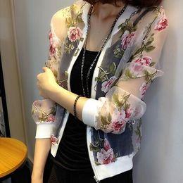 Wholesale Outwear Coat Flower - 2017 Spring Summer Women Casual Long-sleeved Organza Jacket Flower Embroidery Bomber Jacket Coat Outwear Lace O-neck Jacket plus size