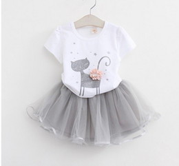 Wholesale Kids Skirt Shirt Design - Kids Girl 2pcs set Cat design T-Shirt+Veil Tutu Skirt Clothing Sets Toddler summer Short Sleeve Princess outfit