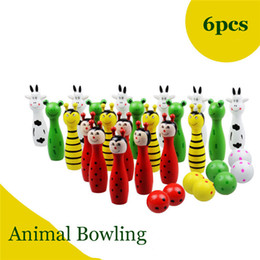 Wholesale Kids Wooden Educational Wholesale Toys - Wooden Animal Bowling Set 6pcs Pins+2 Bowling Balls Game Children Kids Educational Toys Colorful Cartoon Indoor Outdoor Sports Toy
