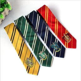 Wholesale Green Stripes - Harry Potter Ties Gryffindor Slytherin Badge Ties Ravenclaw Hufflepuff Necktie Hogwarts School Stripes Neckwear Costume Tie OOA2182