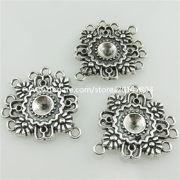 Wholesale Silver Plated Filigree - 20648 14pcs Vintage Silver Alloy Filigree Leaf Pendant Connector Fit DIY Earring