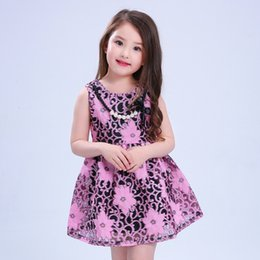 Wholesale National Style Necklace - Girls dresses Girls BOWS pearl necklace vest dress National style kids flowers embroidery dress children hollow princess party dress T3622