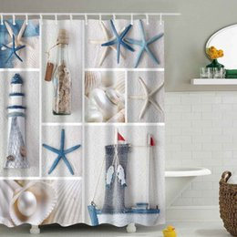 Wholesale Sea Shell Bathroom - Wholesale- Bathroom Waterproof Shower Curtain Sea Shell Starfish Waterfall Scenery Bath Curtain cortina de bano with 12 Hooks